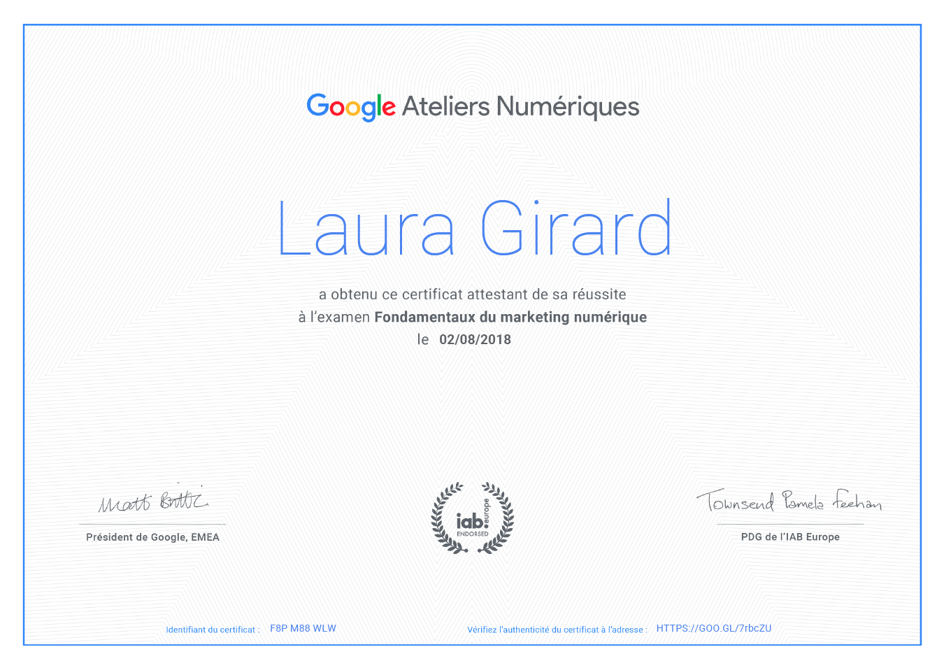Certification Google !