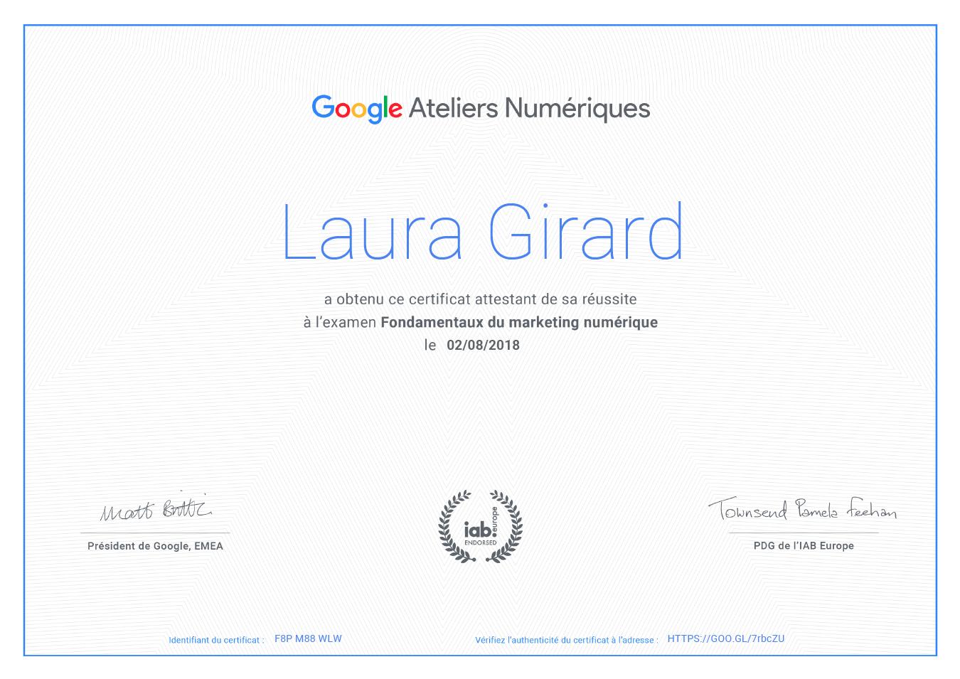 Certification Google !